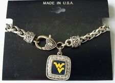 "West Virginia Mountaineers WVU University NCAA Square Charm Pewter 8"" Bracelet"