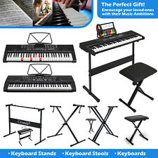 More details for height adjustable double braced x frame music piano keyboard stand & chair bench