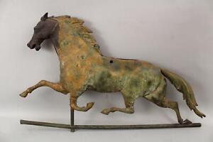 19thC Antique 1870s, Ethan Allen Trotter Racehorse, Copper & Iron Weathervane
