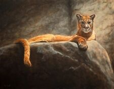 Print of Laying Cougar Painting 11x14 L. Merchant Fine Art Wildlife Cat