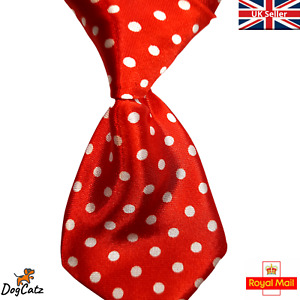Dog Ties, Pretty Collar Neck Tie, Bowties, Cats Puppies, Red and White Polka Dot