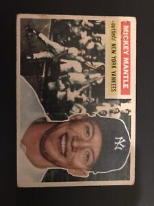 1956 Topps MICKEY MANTLE  #135 Grey Back Centered with Amazing Eye Appeal