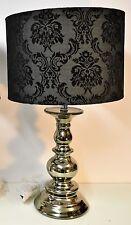BLACK TABLE LAMP NICKEL FINISH BLACK FLOCK SHADE