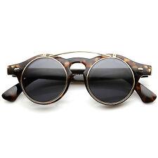zeroUV Small Retro Steampunk Circle Flip Up Glasses / Sunglasses