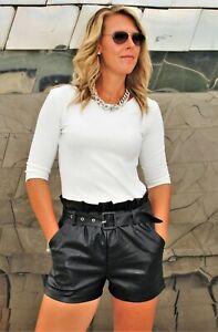 Leder-Shorts mit Gürtel aus Kunstleder elegant  schwarz