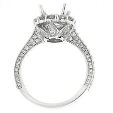 1.30 Cts. 18K White Gold Diamond Engagement Ring Setting With Halo