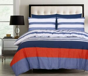 King size Quilt White Blue Rust Cotton Doona Duvet Cover Set With Pillowcases