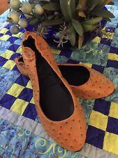 Gogo Leather Flats Ostrich Print Amber Brown Foldable Black Lining 8.5
