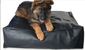 Faux Leather Pet Dog Bed - Extra Large - black removable inner size 36x36x9 inch