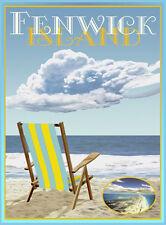 Fenwick Island Chair -Vintage Art Deco Style Travel Poster-by Aurelio Grisanty