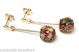 9ct Gold Red Chinese Enamel Ball Long Drop Earrings Made in UK Gift Boxed