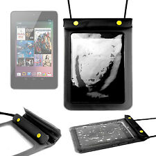 Black Pouch For Google Nexus 7 Tablet In Waterproof PVC With Secure Strap