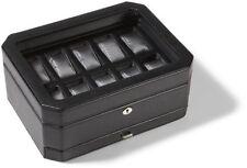 NEW WOLF Windsor 10 Piece Watch Storage Box with Drawer - Black/Black(4586029)