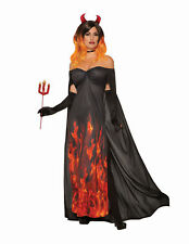 Ladies Flame Fire Devil Fancy Dress Costume Halloween Outfit Womens Uk 12-14
