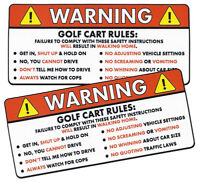 2X Golf Cart Rules Funny WARNING Sticker for Passengers Put on Cart Garage Shed