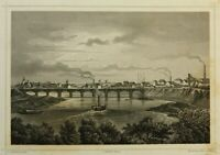 KNOPFMACHER (19.Jh) Stadtansicht von Riesa, Blick auf Elbebrücke, Stahlstich