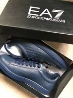 EMPORIO ARMANI EA7 BLUE LOGO NEW CLASSIC TRAINERS SHOES - UK 6.5 8.5 9 - NEW BOX