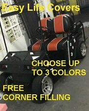 EZGO TXT-RXV GOLF CART CUSTOM SEAT COVERS FRONT & REAR COMBO STAPLE ON #60 i.w.