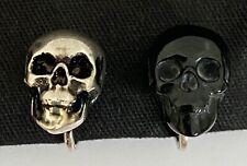 NIB Saint Laurent YSL Black Antique Silver Skull Mismatch Clip Earrings $595