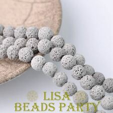 20pcs 10mm Round Lava Stone Natural Gemstone Loose Spacer Beads Light Gray