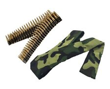 Army Bullet Belt Fancy Dress Rambo Accessory Military With Army Headband