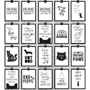 Animal Pet Wall Art Quote Prints Cat Dog Funny Home Room Decor Pictures Poster