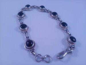 Solid Silver Stamped 925 Round Black Onyx Bracelet