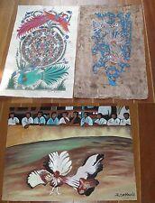 Lot 3 Peintures originales Mexique, combat de coqs, arbre de vie, pierre soleil.