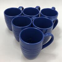 Set of 6 Pier 1 Imports New Essentials Azure Ironstone Blue Coffee Mugs AA
