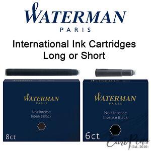 Waterman Ink Cartridges- International - Fountain Pen Refills Long/Short - BLACK