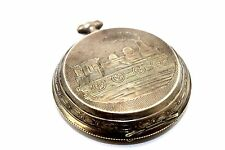 "BIG 2.5"" Antique REMONTOIR ANCRE 800 Silver Pocket Watch Case w. TRAIN DESIGN"