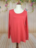 EUC NEIMAN MARCUS The Cashmere Collection sheer silk Coral Pink Sweater $197 M