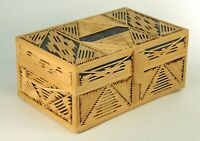 ^ FINE Folk Tramp Art Rustic Handcrafted Paper & Wood Jewelry Box, Mid-Century