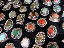 Wholesale Mixed 5Ps Natural Mixed Gemstone Tibetan Tribe Silver P Ring FREE