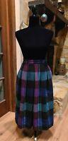 Vintage Diane Von Furstenberg Plaid Wool Skirt Sz.6 Purple Blue Secretary Office