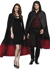 Adult Mens Ladies Long Black Hooded Cape Red Fancy Dress Halloween NEW 170CM