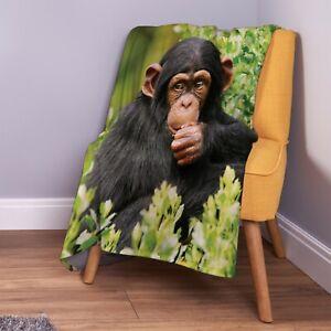 Cute Baby Chimp Design Animal Soft Fleece Throw Blanket