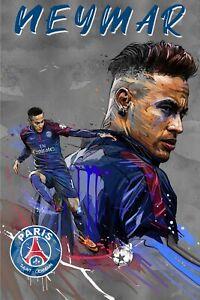 Paris Saint-Germain PSG Neymar Jr Portrait Poster 36X24 inches