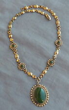Vintage Fred Harvey Era Sterling Necklace with Jade Rather Than Turquoise