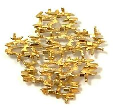 Modernist Abstract Pin Brooch Signed Gubelin 18k Yellow Gold