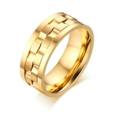 9mm Silver/Gold Spinner Ring Men/Women's Stainless Steel Wedding Band Size 6-13