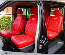VW Transporter T5 KOMBI Crew Cab Van Highline Captain Seat Covers Red Diamonds