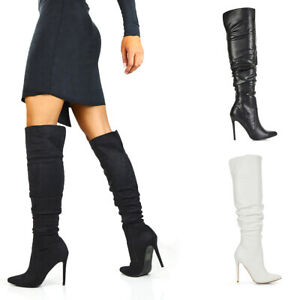 Womens Over The Knee Pointed Toe Boots Ladies High Heel Ruched Winter Booties