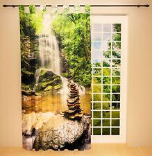 """Foto Schlaufenschal Vorhang Gardine """"Wasserfall im Wald"""""""