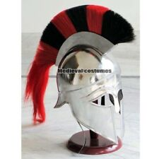 Medieval Greek Corinthian Armour Helmet Black & Red Plume Knight Spartan