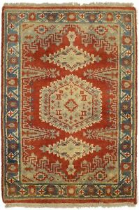 Tribal Design Small Entryway Indo-Viss 2X3 Orange Oriental Rug Kitchen Carpet