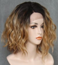 Short Lace Front Wig Wavy Blonde brown roots Heat OK Hair Piece Full WBPG 7017