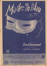 Noten gebraucht Maske in blau Fred Raymond Günther Schwenn Klavier Operette