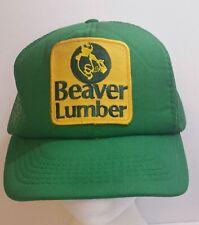 Beaver Lumber Mesh Trucker Hat SnapBack Company Logo Patch Cap Green