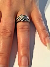 Sterling Silver -Twist inlaid with Cubic Zirconia size M